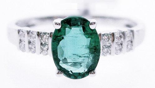 14K WG EMERALD DIAMOND RING