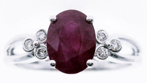 14K WG RUBY DIAMOND RING