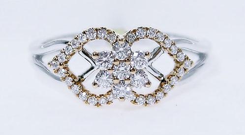 18K W/YG DIAMOND RING