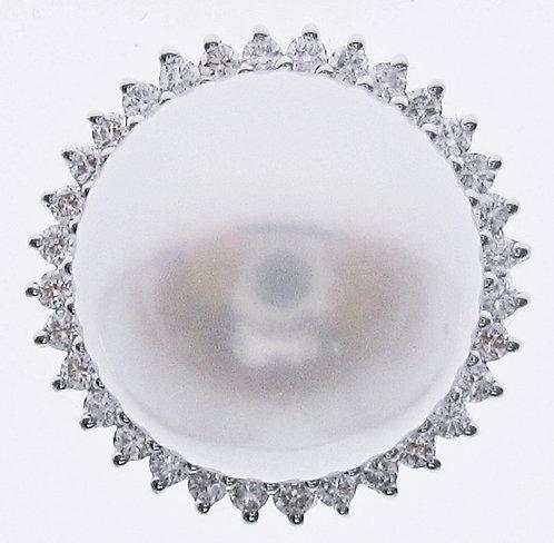 18K WG PEARL DIAMOND EARRING