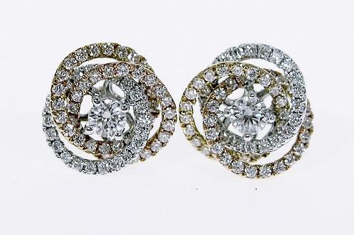 18K Y/W/RG DIAMOND EARRING