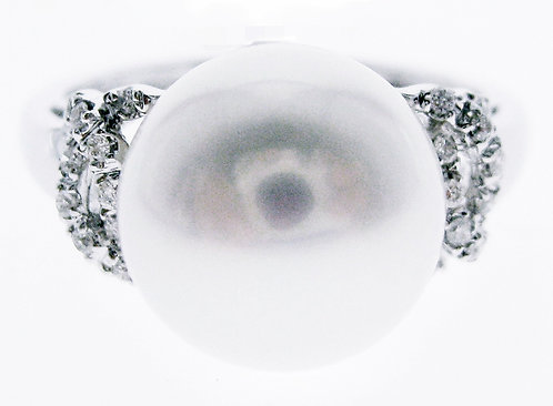 14K WG PEARL DIAMOND RING