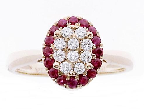 18K RG RUBY DIAMOND RING