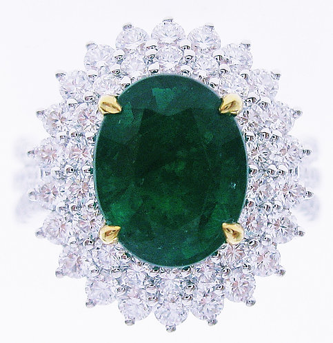 18K Y/WG EMERALD DIAMOND RING