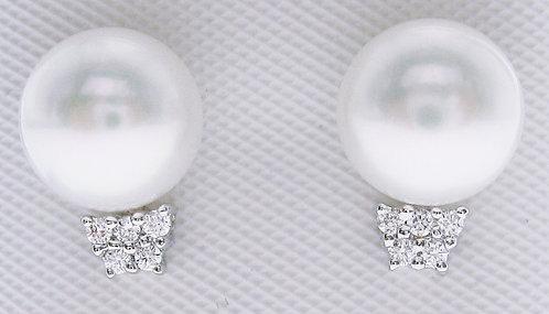 14K WG PEARL DIAMOND EARRING