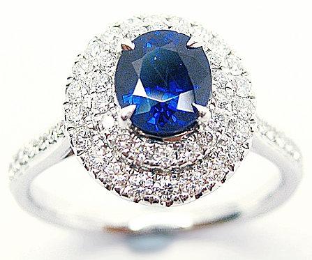 18K WG SAPPHIRE DIAMOND RING