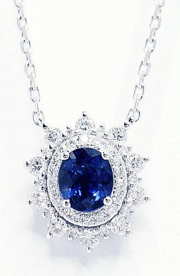 18K  WG SAPPHIRE DIAMOND NECKLACE