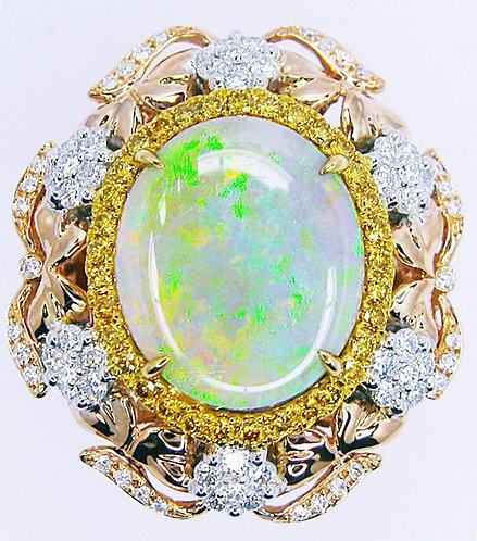 18K Y/W/RG OPAL DIAMOND RING