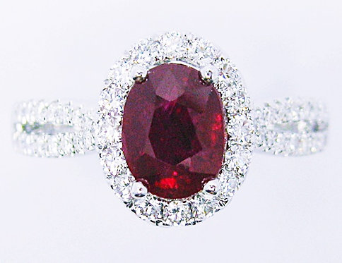 18K WG RUBY DIAMOND RING