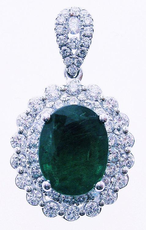 18K WG EMERALD DIAMOND PENDANT