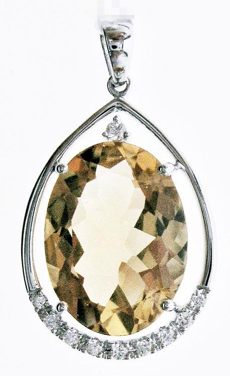14K WG CITRINE DIAMOND PENDANT