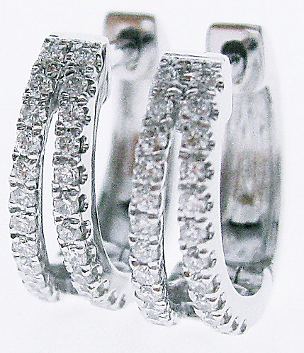 18K WG DIAMOND HUGGIES EARRING