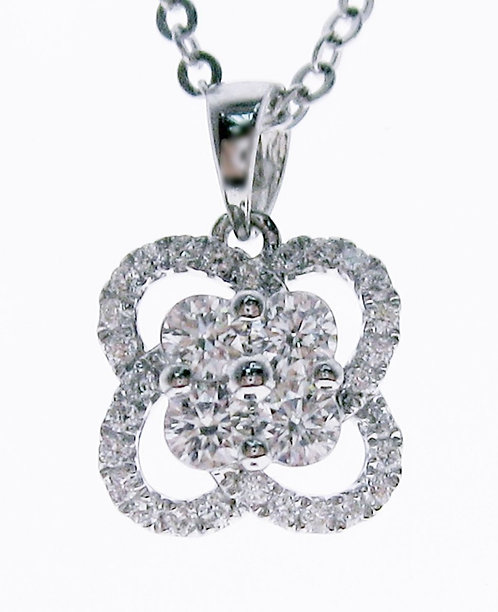 14K WG DIAMOND PENDANT (without gold chain)