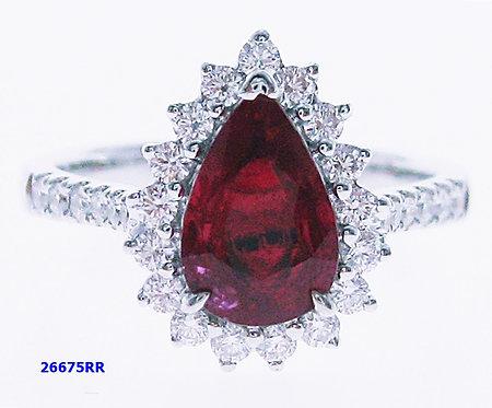 18K WG RUBY DIAMOND RING