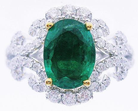18K Y/WG EMERALD DIAMOND RING
