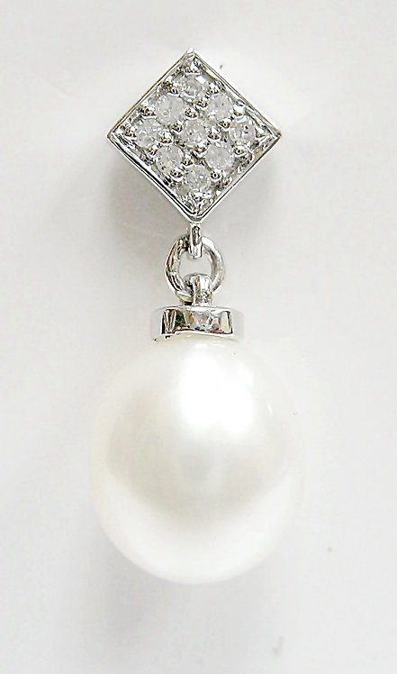 14K WG PEARL DIAMOND DANGLING EARRING