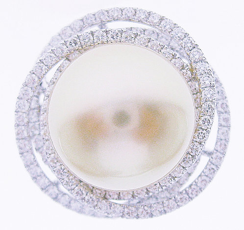 18K WG SOUTH SEA PEARL DIAMOND RING