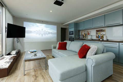 lounge with a large projection screen