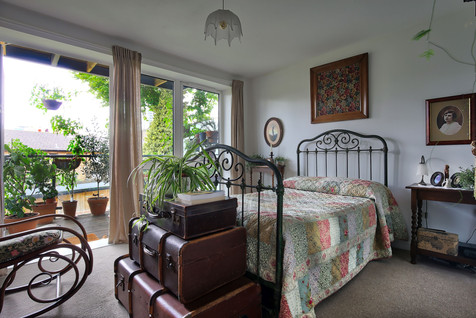 period bedroom with large windows