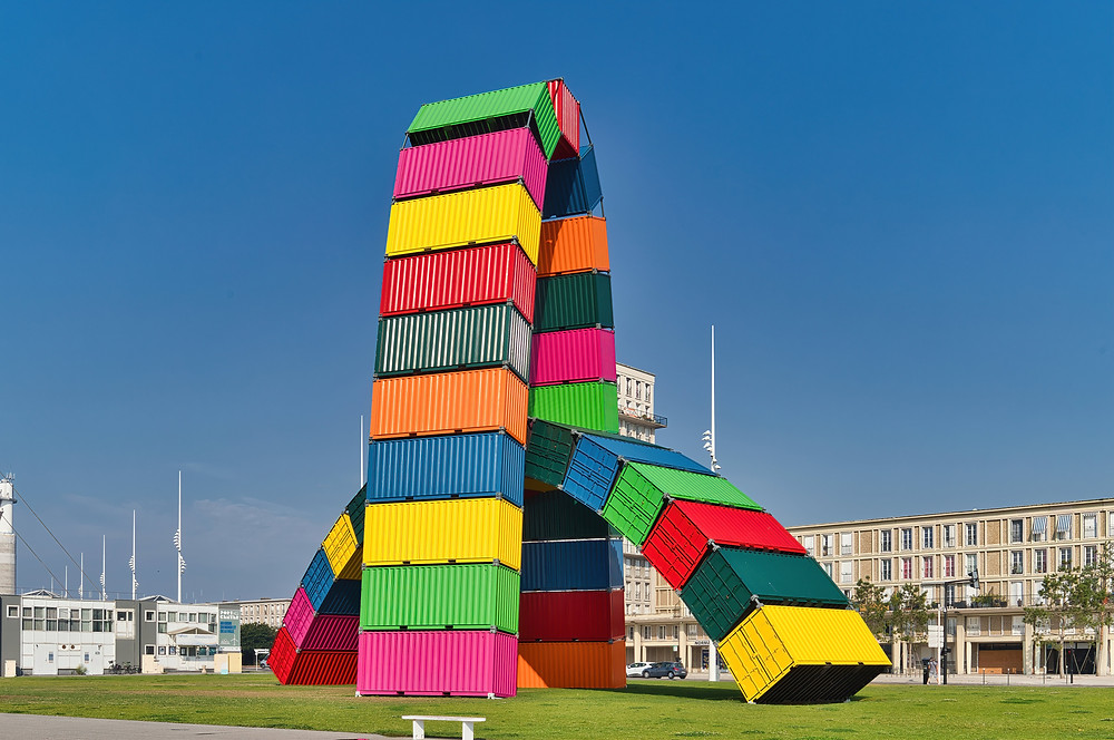 Colourful container art installation you will find in the town of Le Havre,Normandy,France.