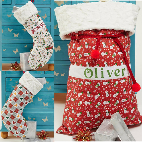Large Luxury Christmas Sacks and stockings with Fur Top