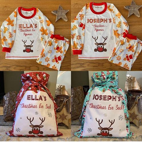 Children's Personalised Christmas Pyjamas and Christmas Eve Sacks
