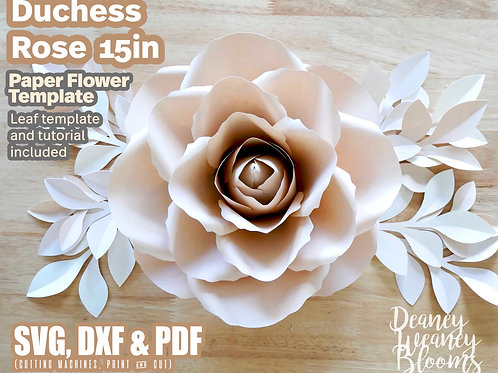 15-in Duchess paper rose template