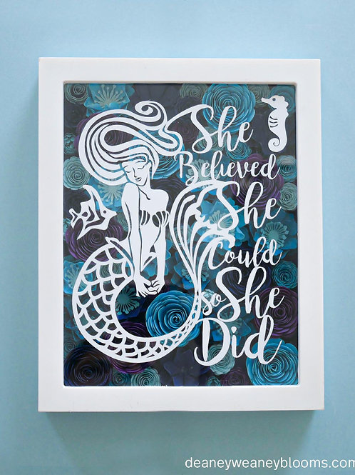 Mermaid shadow box decor 8 x 10