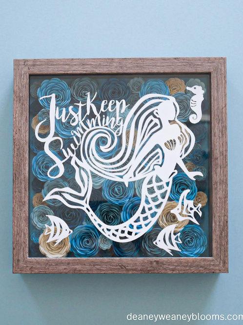 Mermaid shadow box décor 10 x 10 in