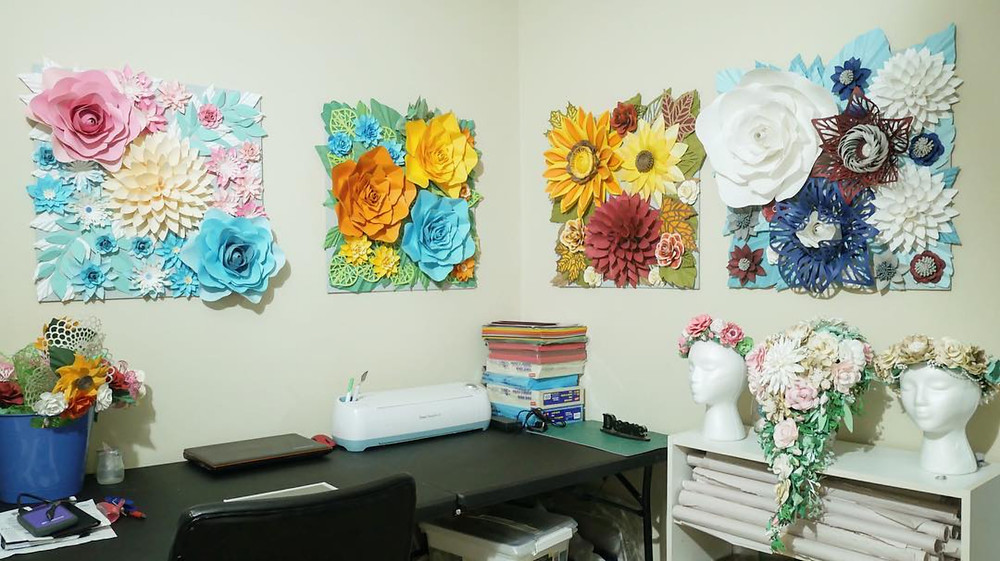 Deaney Weaney Craft space with paper flower home decor
