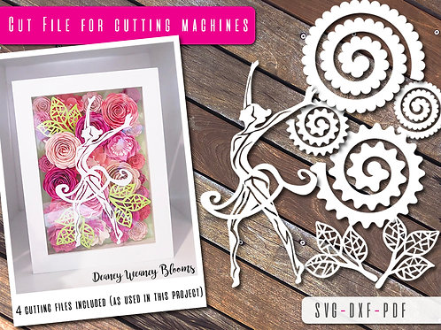 Dancer and paper flowers SVG, PDF and DXF template Bundle