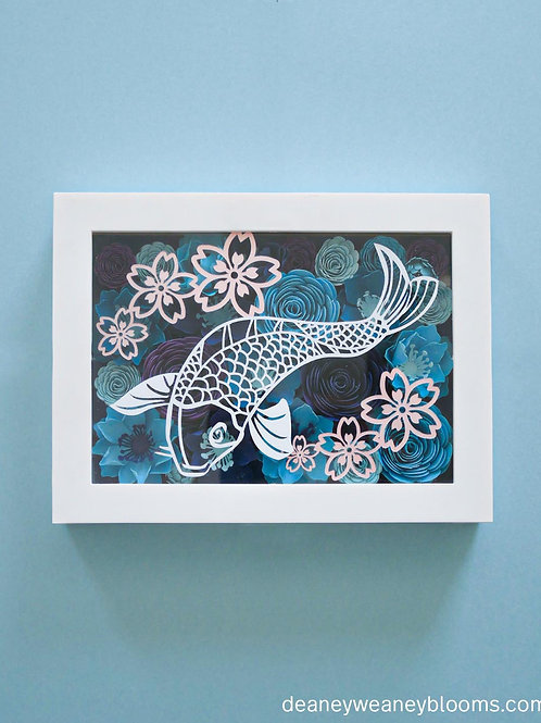 Koi shadow box décor 6 x 8 in