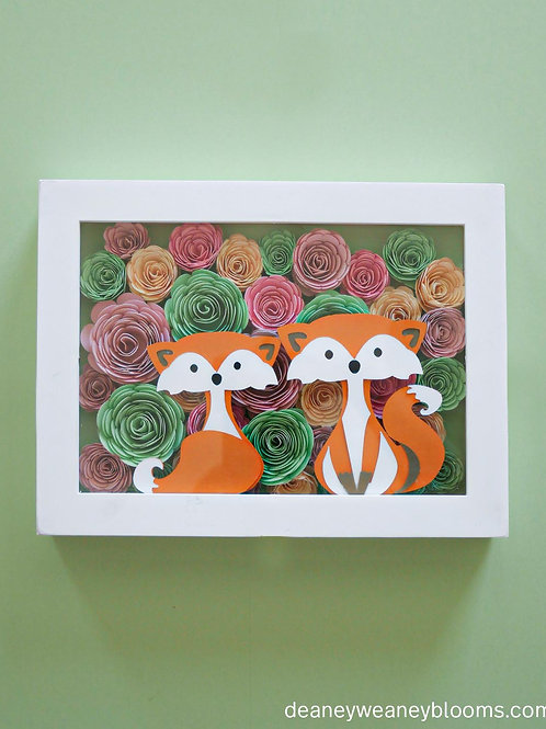 Foxes and flowers shadow box décor