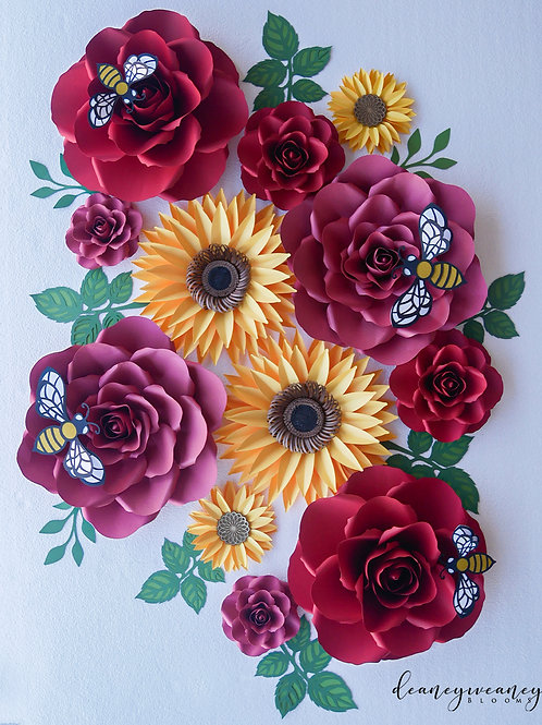 12 piece Paper Flower Set 1a (Free Shipping)