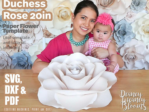 20-in Duchess paper rose template