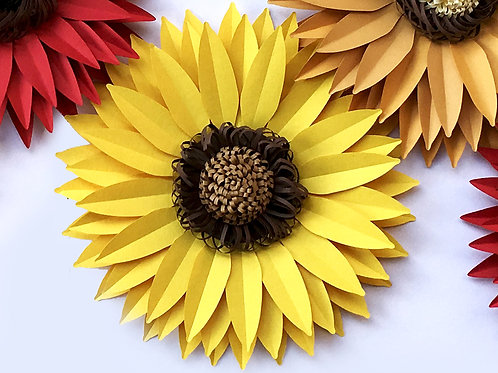 Paper SunFlower Template bundle (SVG, DXF and PDF)