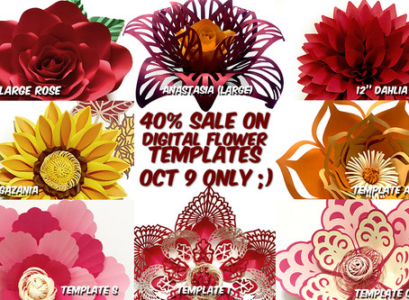 October Paper Flower Template Sale Today