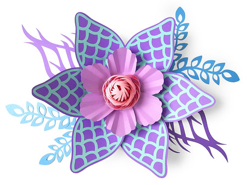 Mermaid Paper Flower Template with Guide and info