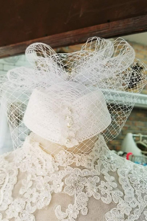 Handmade White Bridal Hat w/ veil