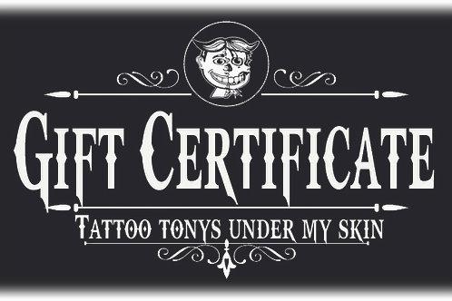 tattoo tonys gift certificate