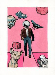 PEARL HEAD MAN WALKING THE PINK WAY.