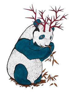 PANDA WITH HORNS