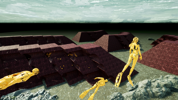 Rendering of concept art for iReefs blue breakwater structure.