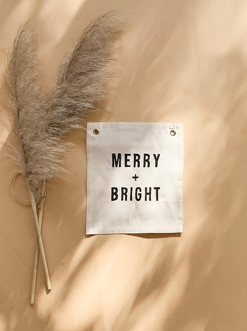 Merry + Bright Canvas Banner