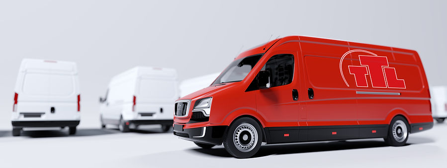 red-commercial-van-and-fleet-of-white-tr