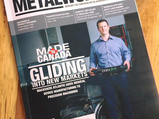 Paraglide hits the cover of Canadian Manufacturing Magazine