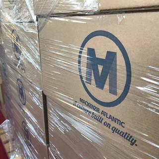 MacKenzie Atlantic skids of face shields ready to ship
