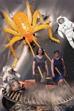 we learned 3 things at space camp. 1. the space bugs that live on the milky way are way cool. 2. space bugs love to BBQ 3. There really is a sauce for everything... who knew?