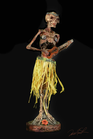 'Betty is ready to party in a lovely yellow Straw hula skirt, floral green Tiara and sturdy coconut cups. With no 'Malfunctions' to worry about, she is The Belle of any ball or Luau,