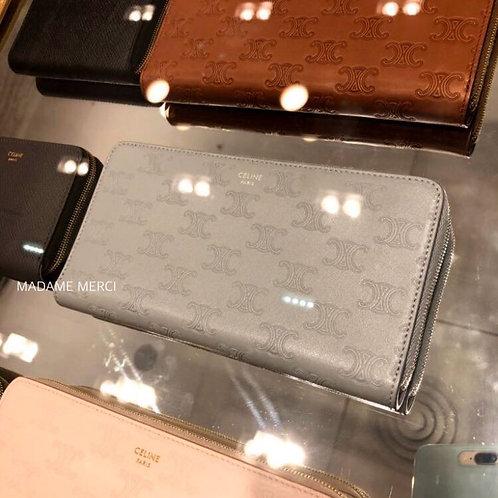 【CELINE】Large zipped embossed wallet
